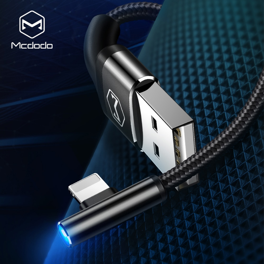 Mcdodo 90 Grado de cable USB para iPhone X Xs X Max XR cable de datos de carga rápida para iPad iPhone 6s 6 más 7 6s más 5S con luz LED Cables