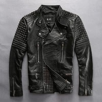 read description asian size high quality punk rivet motorcycle rider clothing cow male stylish genuine cowhide leather jacket