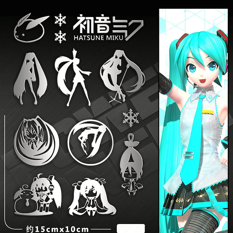 12pcs/set Hatsune Miku Anime Stickers Metal Decal Sticker For Laptop Phone Car Book Desk DIY Stiker Toy