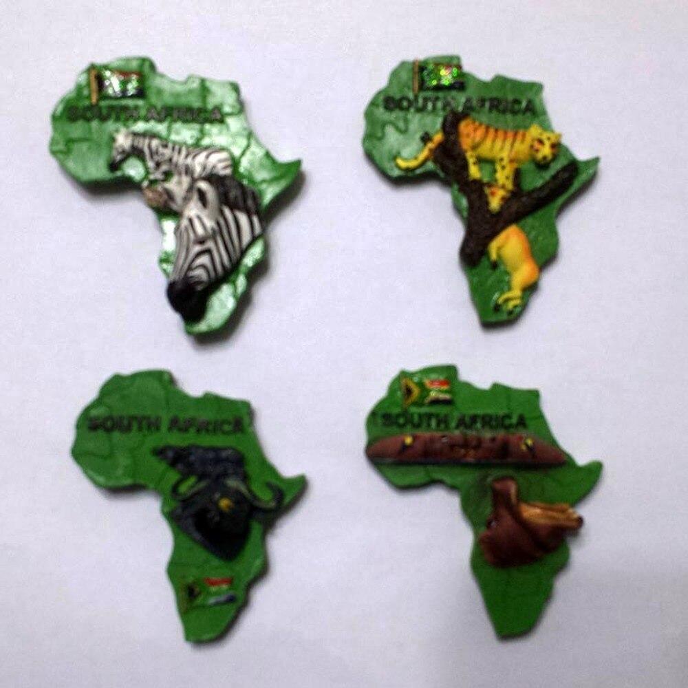 BABELEMI South Africa Wild Animal Zebra Hippo Bison Leopard Resin 3D Fridge Magnet Sticker Tourist Souvenir