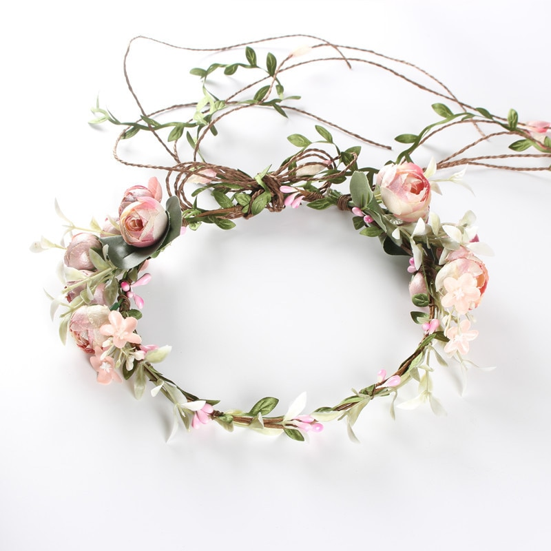 Flor Tiara niña corona diadema rosa azul cabeza playa nupcial flor peine boda Floral novia corona mujeres pelo Garland