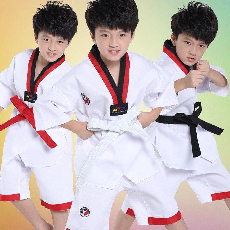2017 niños adultos corto Taekwondo Dobok uniformes de Karate Sanda conjuntos de ropa cómodo uniforme profesional