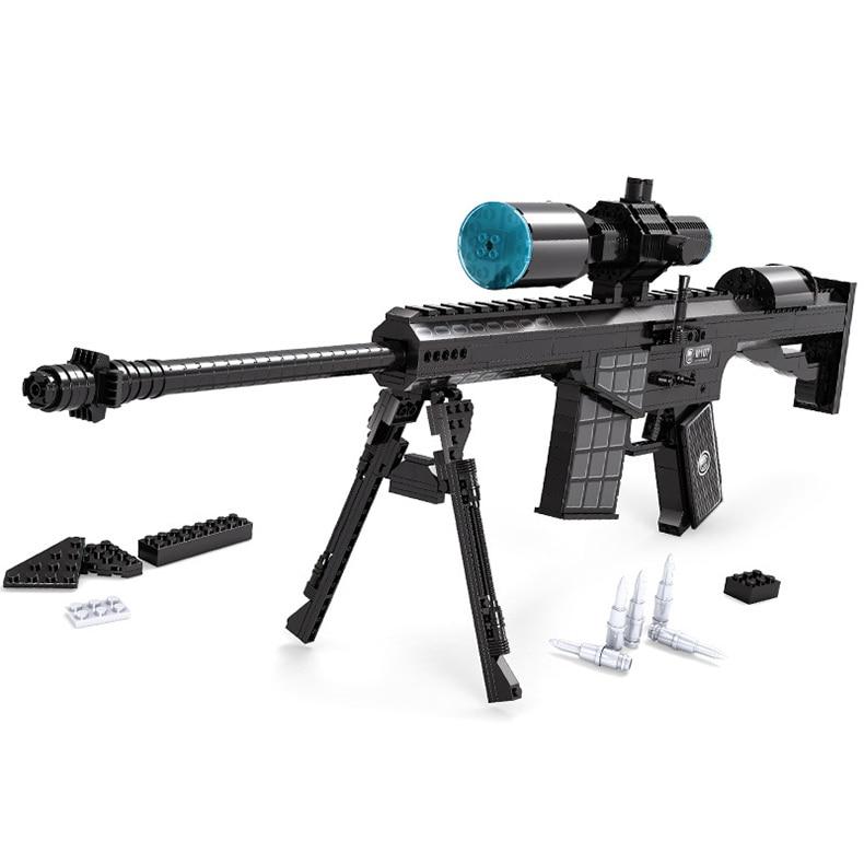 Pistola de élite 527 Uds DIY Nerfs M107, Rifle de francotirador, modelo de pistola de juguete conjunto de bloques de construcción, juguete para regalo de plástico para niños