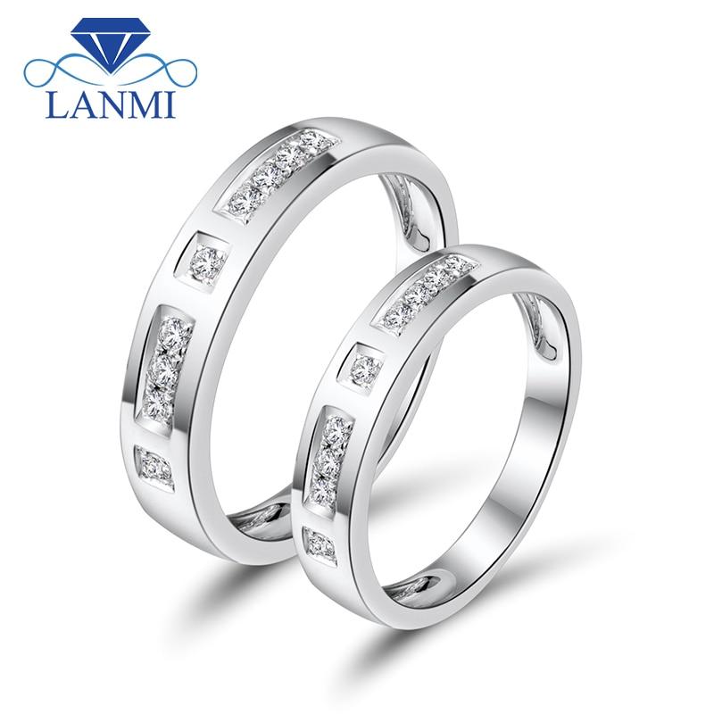 Amante romántico sólido 18K oro blanco pareja Anillos Diamantes naturales para compromiso joyería WU141