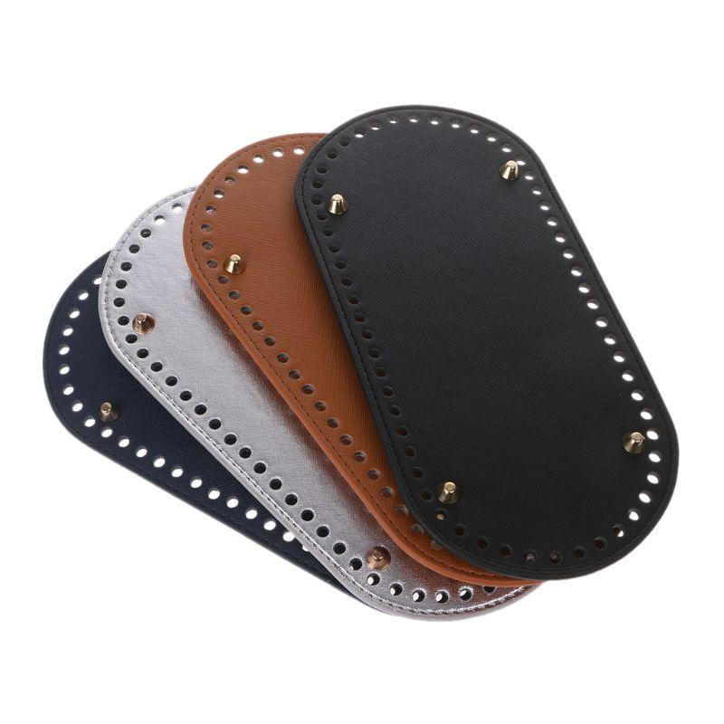 Parte inferior para bolso tejido de piel sintética, accesorios para tejer parte inferior ovalada con agujeros, bolsa Diy de cuero, parte inferior larga, 25x12cm KZBT008