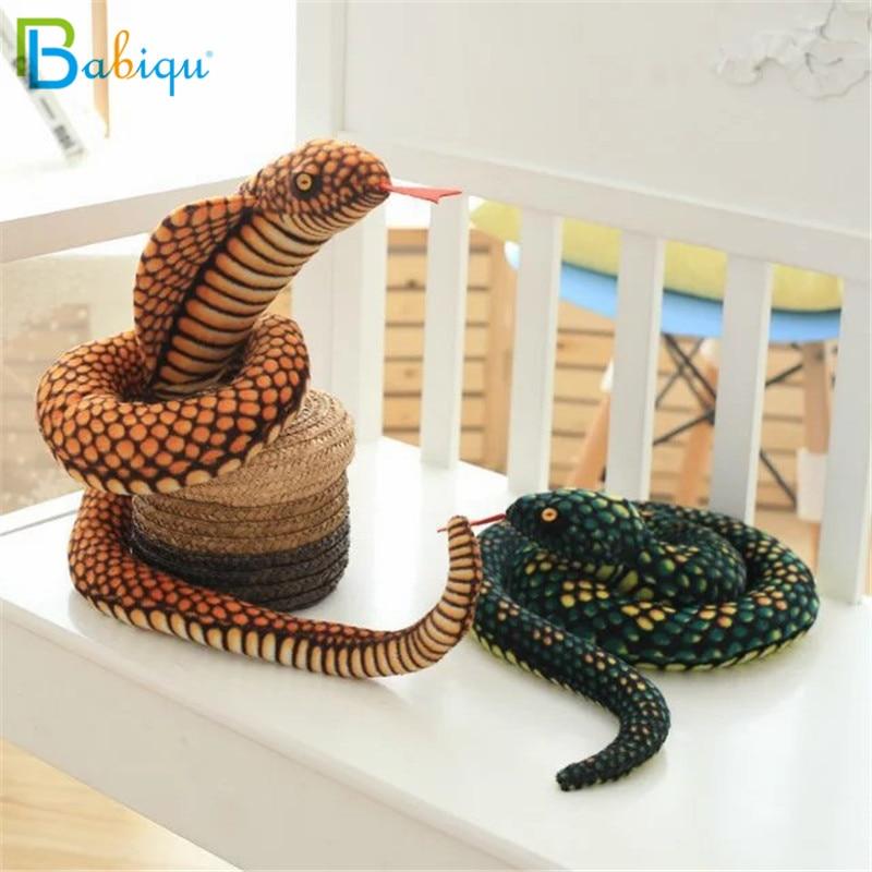 Babiqu 1pc 130cm Simulation Cobra and Python Snake Plush Toy Soft Stuffed Zodiac Dolls Funny Gift for Children Kids Party Toys