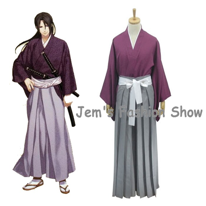 Anime Hakuouki hijikata Toshizo Cosplay disfraces Halloween juego de rol ropa Top y pantalones kimono uniforme traje