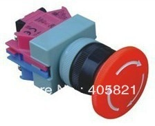 AVW-411 red mushroom head emergency stop push button switch 1NO+1NC 22mm