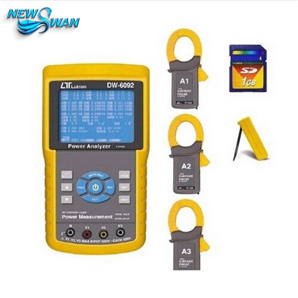 Equipos eléctricos DW-6092 tres 3 Fase medidor de potencia Analizador de Lutron Dw-6092 de Tiempo Real registrador de datos