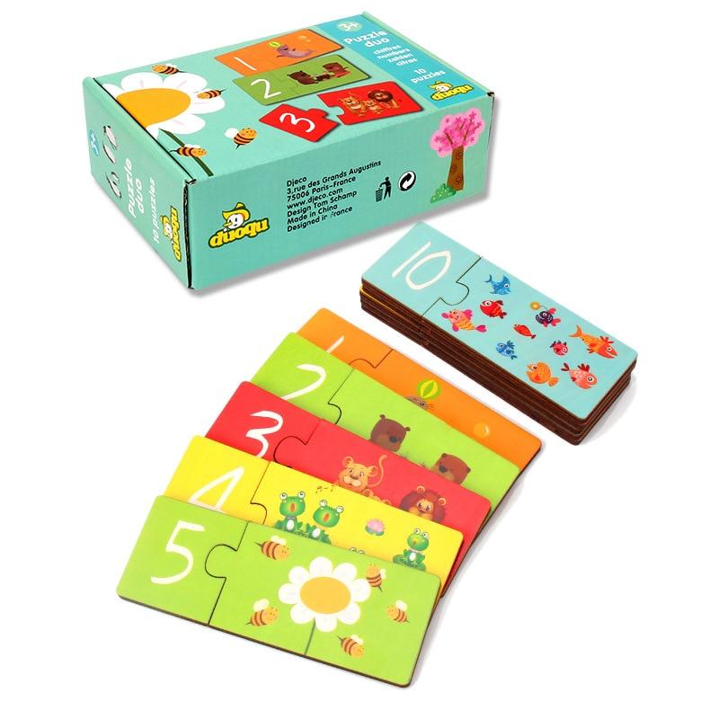 Educação Na Primeira Infância De Madeira Jigsaw Puzzle Número Carta de Emparelhamento Infantil Brinquedo Do Bebê Cartão de Reconhecimento