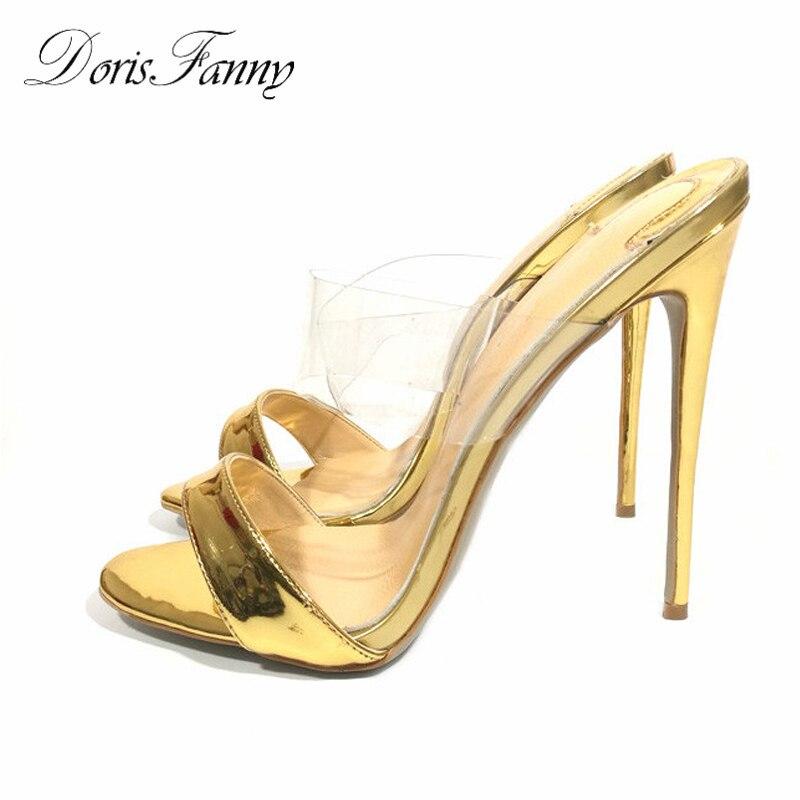 Босоножки DorisFanny женские на высоком каблуке, пикантные туфли с открытым носком, высокий каблук шпилька, дизайнерская летняя обувь, 2018
