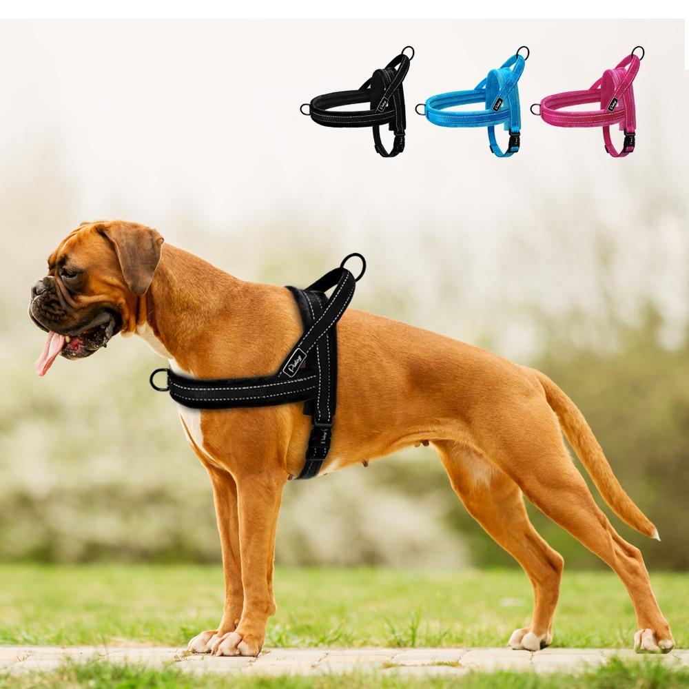 Без тяги поводок для собак нейлоновый большой Поводок для собак светоотражающий жилет для домашних животных Мягкий ремень ремни для маленьких средних собак Pitbull Buldog