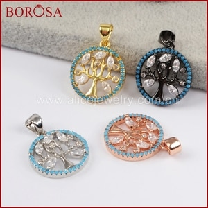 BOROSA New Micro Pave Blue Zircon CZ Round Crystal Tree Drusy Pendant Necklace Pendant Fashion Jewelry Simple Design WX769