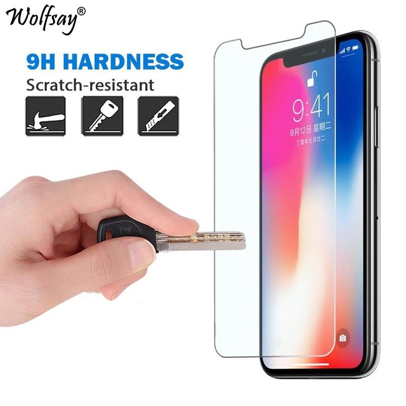 2 pçs vidro temperado para apple iphone x protetor de tela hd filme temperado para iphone x vidro para iphonex película protetora wolfsay