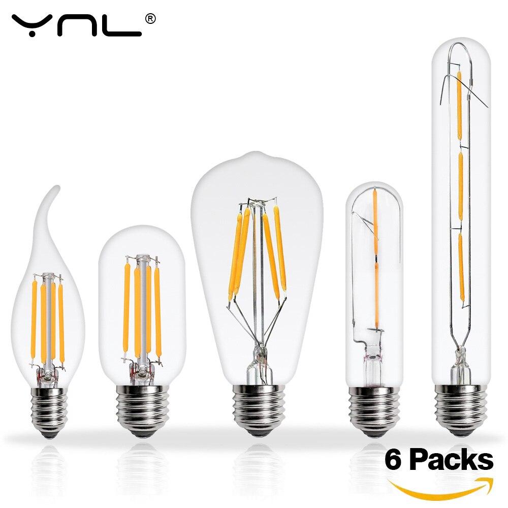 6 uds. Lámpara bombilla LED Edison E27 E14 220V 2W 4W 6W 8W Bombillas LED lámpara de filamento retro antigüedad vintage vela de cristal