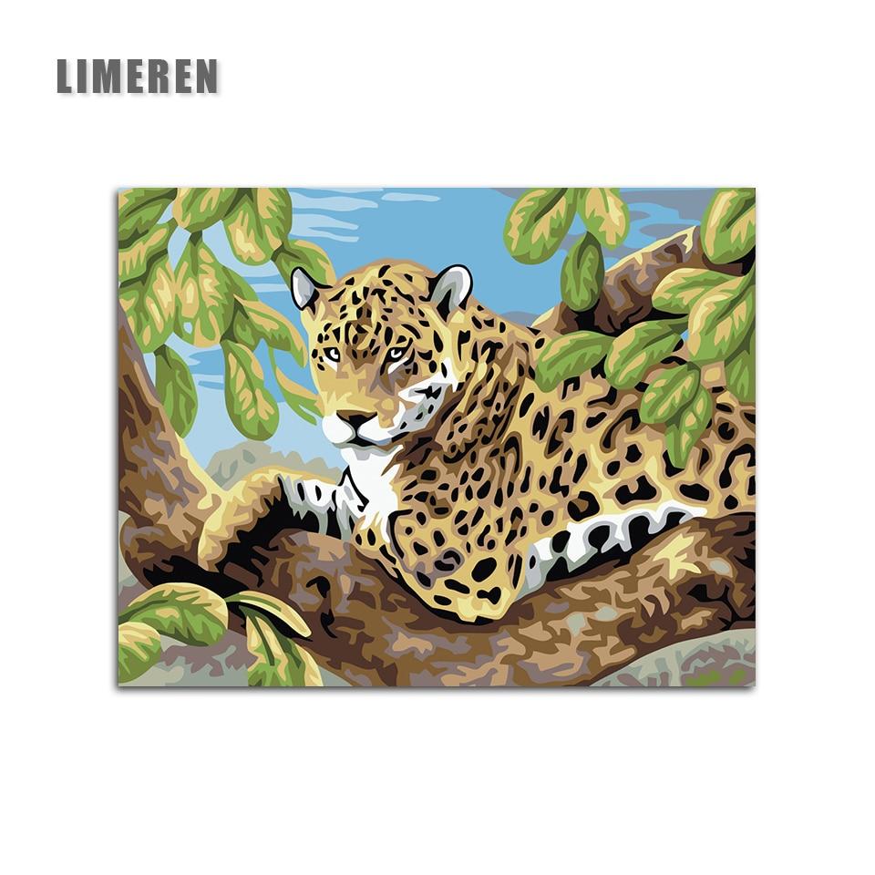 Colorindo Por Números Imagem Pintura A Óleo DIY Handmade Wall Art Canvas Pintura Home Decor Deitado Cheetah Para Sala de estar Presente