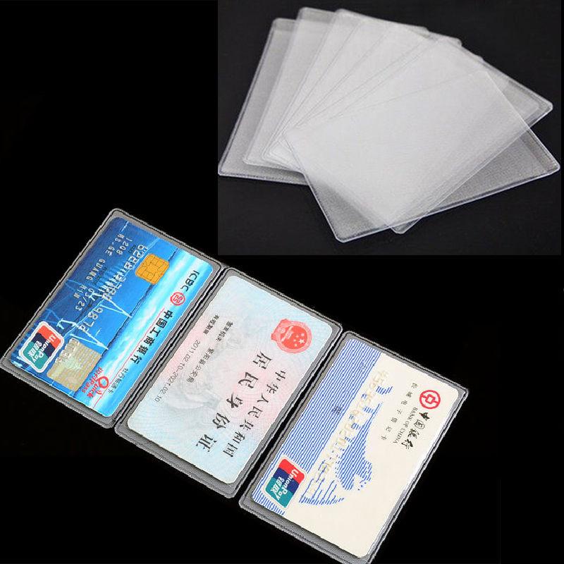 10 шт./лот Прозрачный чехол для кредитных карт из ПВХ, защитный чехол для удостоверения личности, визиток, чехол для кредитных карт, чехол для ... чехол