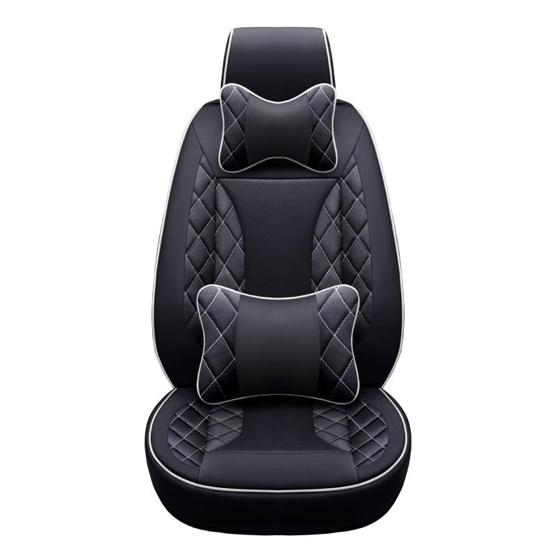 Cubierta de asiento de coche de cuero delantero + trasero personalizado para Mercedes Benz A B C D E S serie Vito Viano Sprinter Maybach CLA CLK estilo de coche