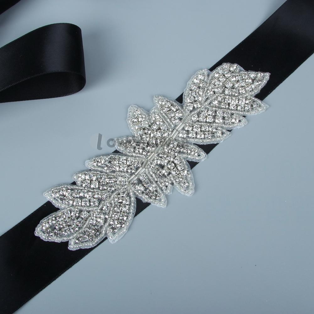 2018 Fashion Luxurious Handmade Rhinestone Silk Ribbon Crystal Wedding Party Bride Bridesmaid Belt D