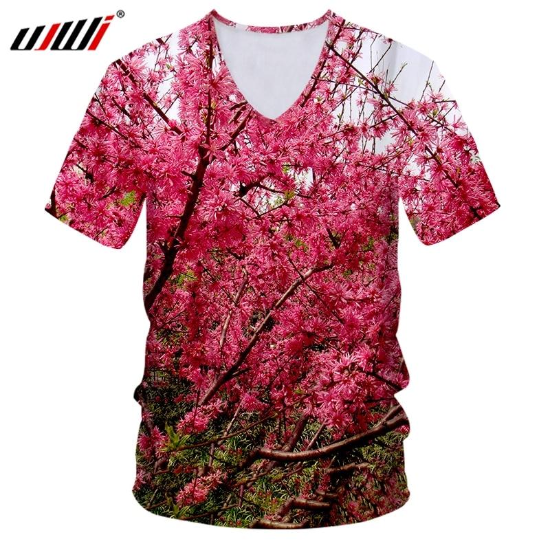 UJWI nuevo 3D The Peach Blossom Man cuello en V camiseta impresa para hombre gótico camiseta gran oferta camiseta unisex recomendar
