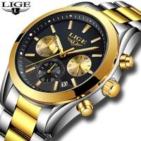 Relojes Hombre 2018 New LIGE Mens Watches Top Brand Luxury Full Steel Business Quartz Watch Men Military Sport Waterproof C