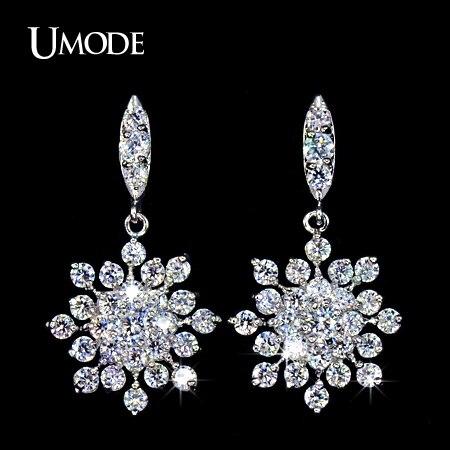 UMODE The Snowflake Zirconia Shiny Light CZ Stone Drop Earrings Handmade Jewelry Wedding Earrings Long Earrings For Women UE0039