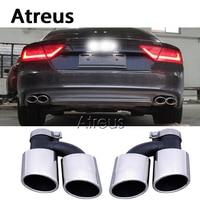 Atreus 1 זוג עבור 2015 2016 אאודי A7 אביזרי 2014 עד A7 כדי S7 נירוסטה רכב עמעם פליטת צינור טיפים המפלט