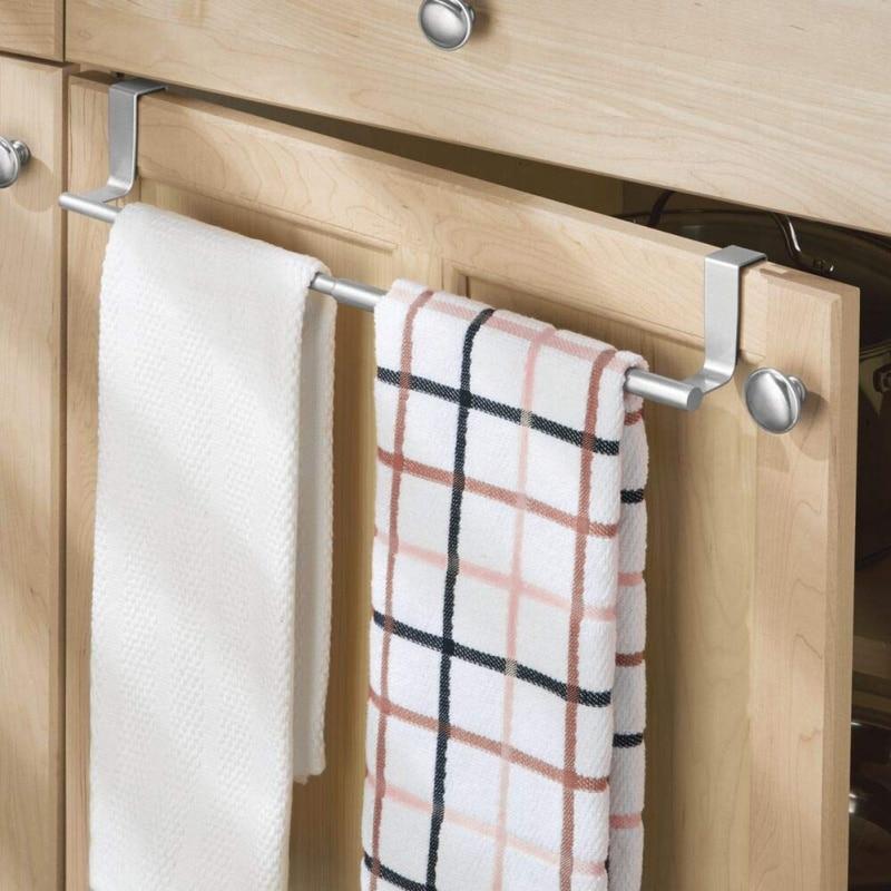 Estante de puerta de acero inoxidable para el hogar, doble barra, rejilla almacenamiento para baño, estante de cocina, percha de armario