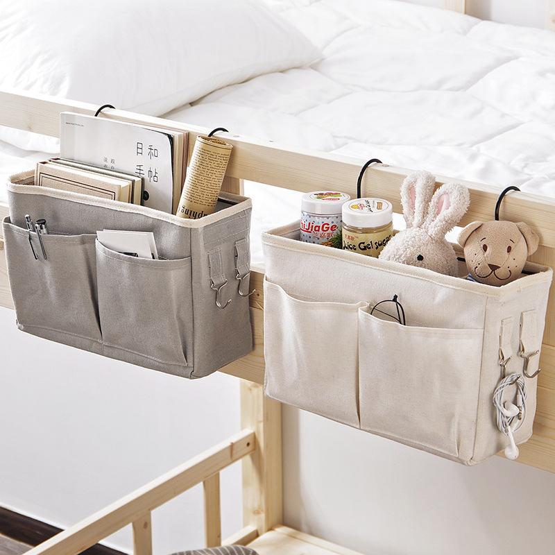 Organizador de almacenamiento para cabecera de cama, organizador de libros para teléfono y dormitorio, soporte de bolsa de almacenamiento de revistas con gancho para TV, mando a distancia, litera, bolsillo para ahorrar espacio