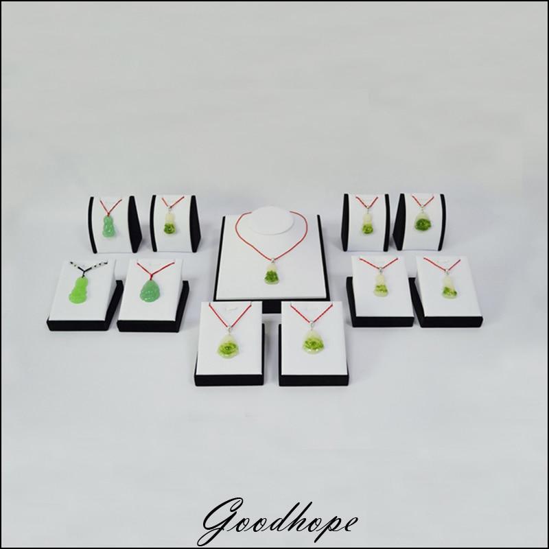 Collana bianca Similpelle Pendente Busti e Mannequin Braccialetto Catena di Visualizzazione Torso Kit 11 Pz con Velluto Nero per il Negozio di Forniture