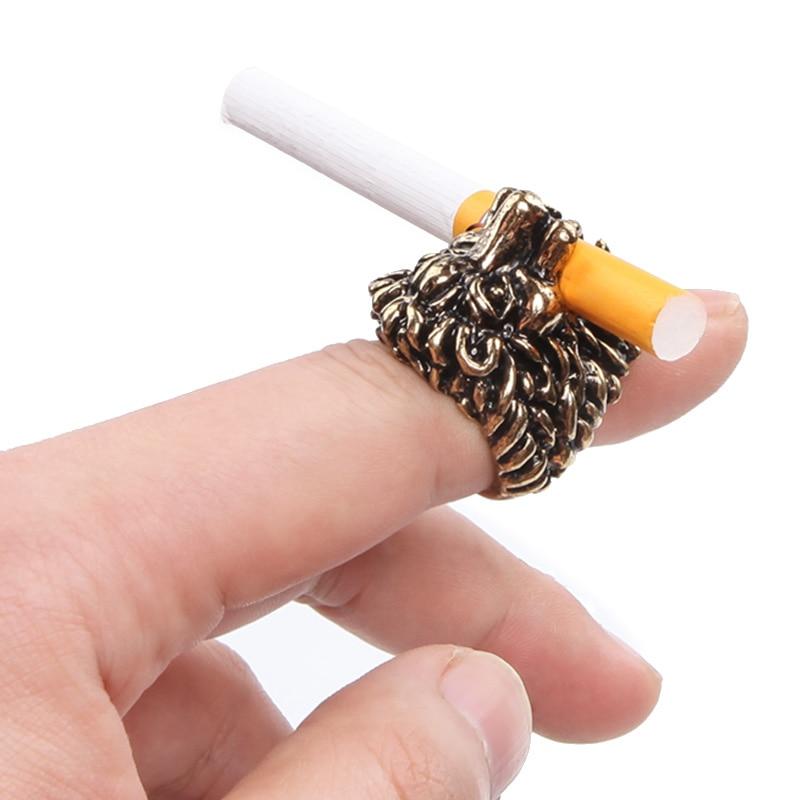 Nuevo soporte de cigarrillo de anillo de humo, anillo de dedo con diseño de León para cigarrillos de 8mm, accesorios para fumar, Gadget para hombres