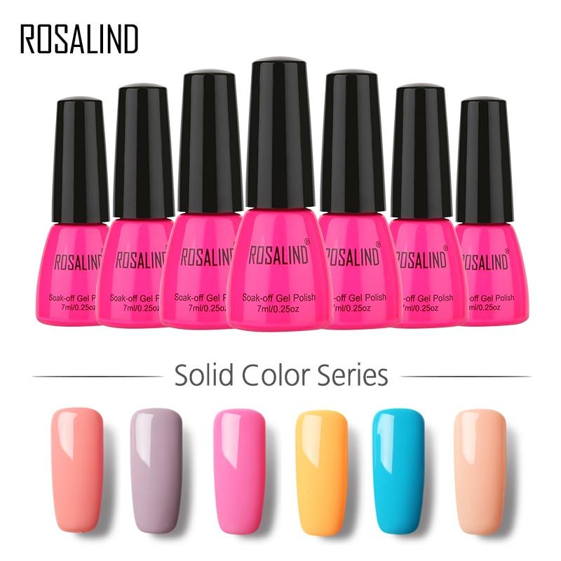 ROSALIND 1PCS Gel Nail Polish Classic 58 Colors Semi Permanent Varnish Soak off DIY Nail Art Top Base Coat Needed UV Gel Polish