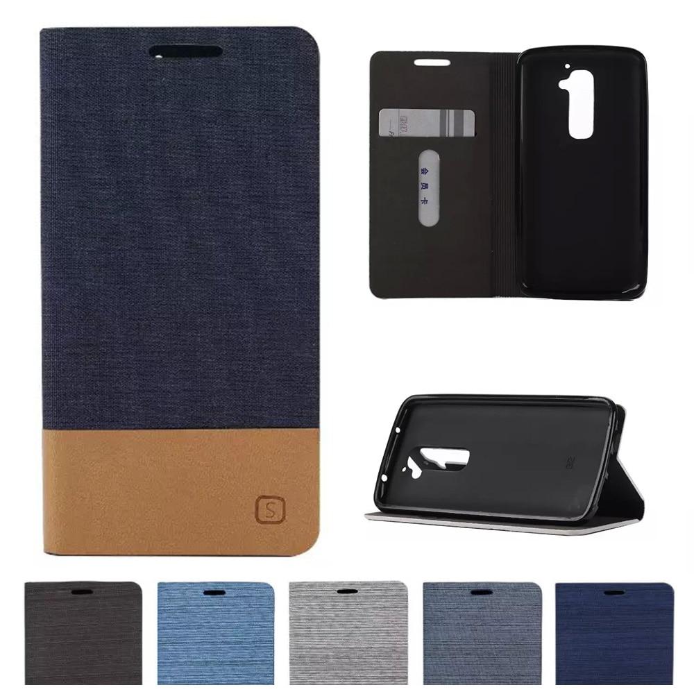 Denim Flip caso para LG G2 G 2 F320 D800 D801 D802 D805 F320S F320L F320K VS980 LS980 Flip Funda de cuero del teléfono para LG Optim