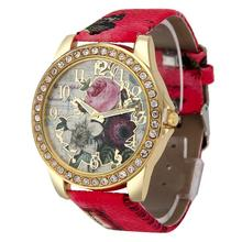 Wach Frau Dame Mode Rose Muster Leder Band Analog Quarz Vogue Armbanduhren Luxus Uhr Frauen Armband zegarek damski