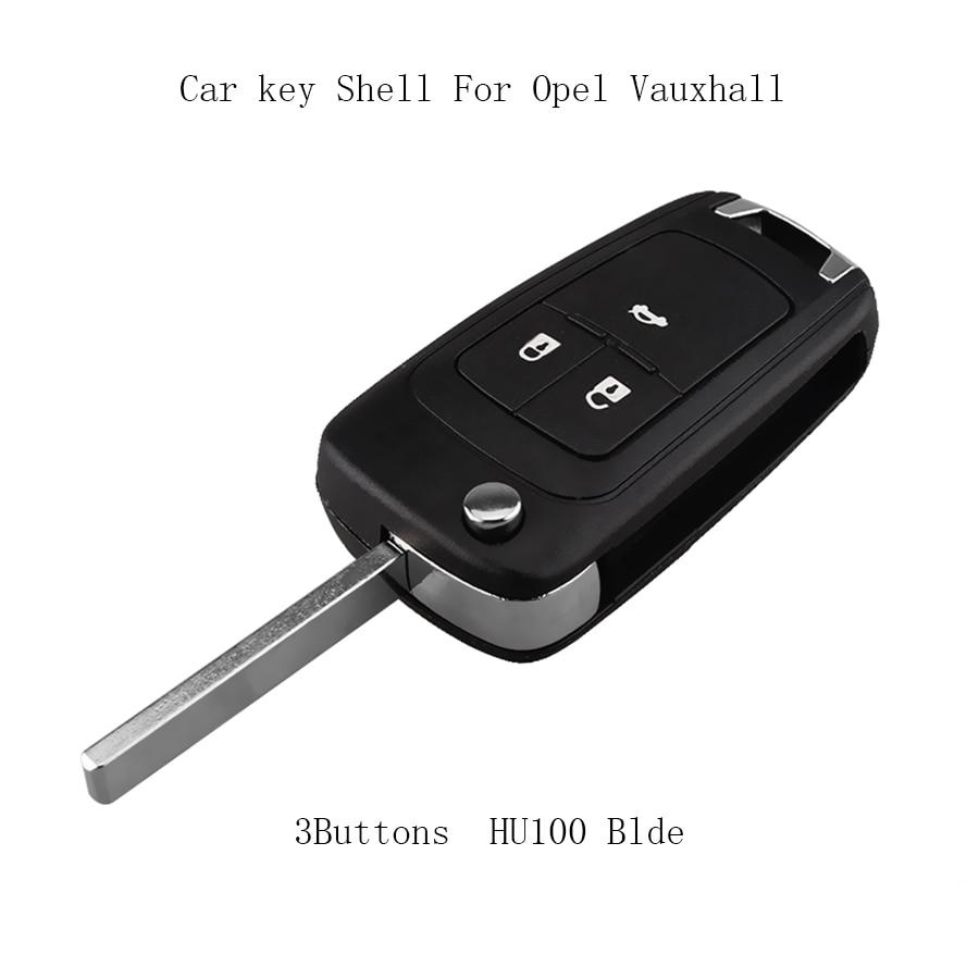 3Buttons HU100 Blade Flip Car key shell For OPEL VAUXHALL Astra Insignia Zafira C Mokka 2009-2014 key shell