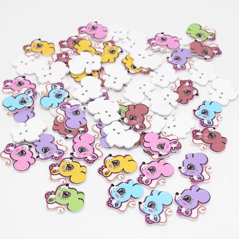20/50pcs Mixed Color Multicolor cartoon squirrel Botones 2 Holes Wooden Buttons Sewing Scrapbooking diy Supplies Accessories