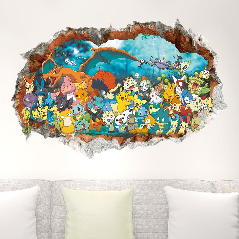 3d dos desenhos animados Pikachu pet elfos através de adesivos de parede para quarto de crianças decalques da arte da parede decoração Pokemon Go jogo cartazes
