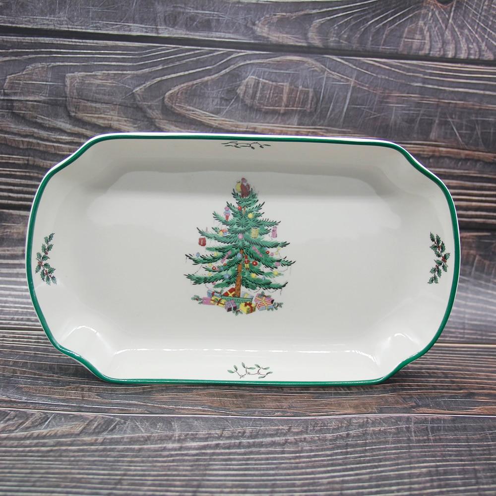1 قطعة الأوروبية عيد الميلاد شجرة لوحة عشاء لوحة شريحة لحم طبق حلويات لوحات الخزف الأسماك لوحة الجملة 12 بوصة