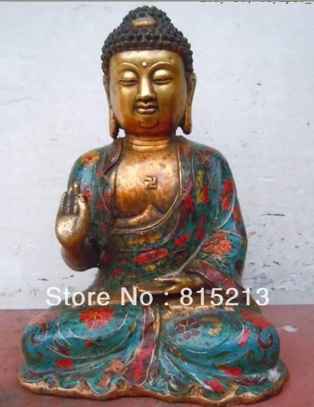 Bi00187 11 Pulgadas Chino cloisonne bronce gild tallada finamente estatuas de buda Sakyamuni