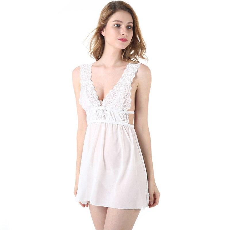 Novedad en camisón Sexy de encaje con tirantes finos para mujer, camisón de princesa blanco de lujo, ropa de dormir de tentación transparente para el hogar, producto en oferta