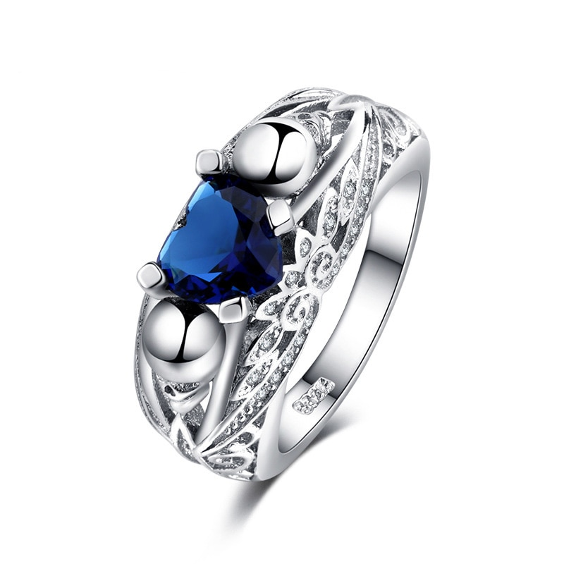 Anillo de Plata de Ley 925 con forma de corazón AAAAA, anillo de compromiso con circonita cúbica de nivel AAAAA, anillos de calavera punk para mujeres, chicas y hombres, regalos