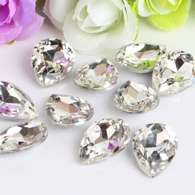 En forma de gota, diamantes de imitación de cristal blanco transparente Fondo puntiagudo, se aplican a la decoración de la ropa y a la joyería DIY, 50 unids/pack