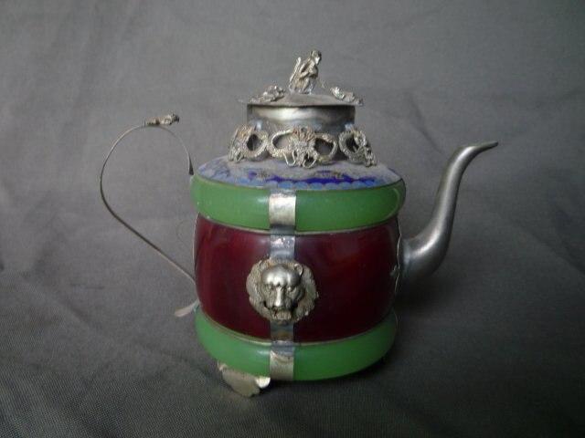 Colección de años de la dinastía Qing de plata y Jade tetera  jarra con mark mejor colección y adorno. Envío Gratis