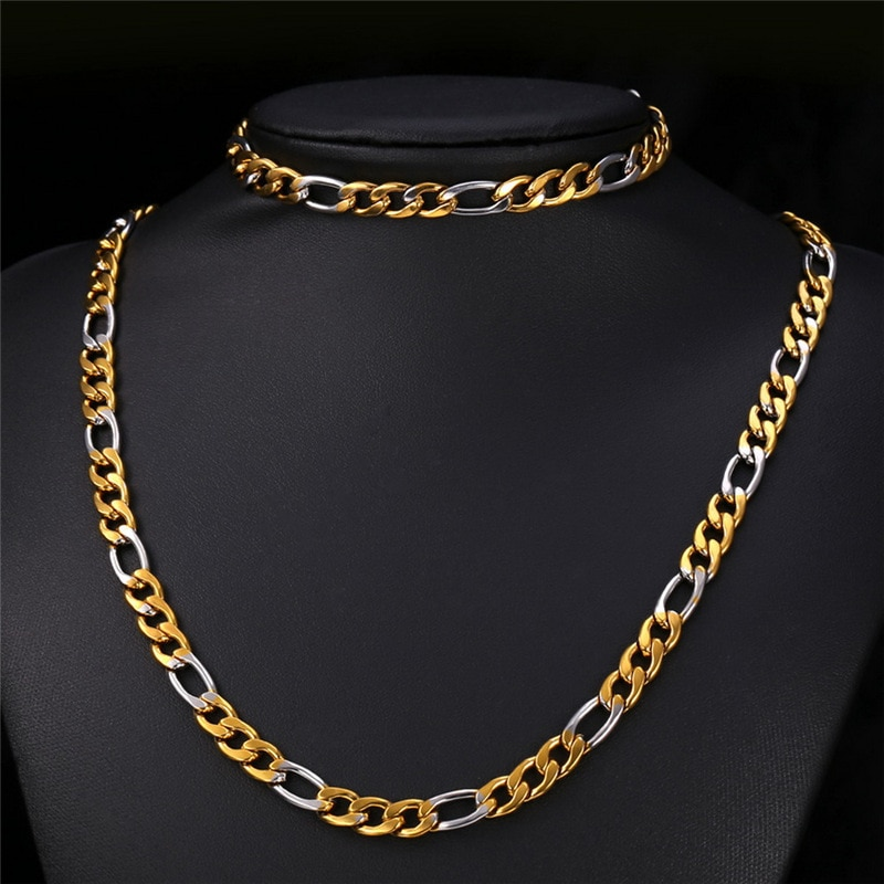 Cadena de k-pop Set dos tonos pulsera de Color dorado collar de joyería para hombre Acero inoxidable 8mm de ancho de moda para mujer nuevo conjunto S001