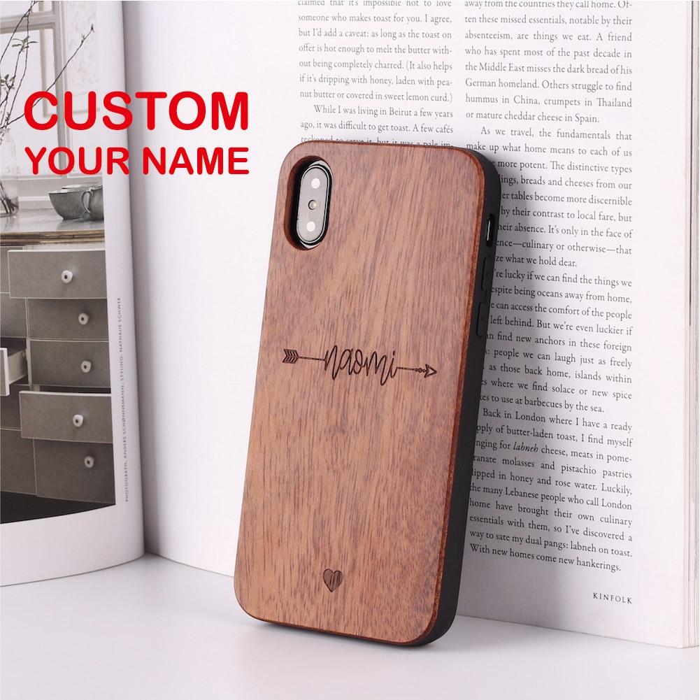 Archer latido del corazón amante Cupido amor personalizado de madera teléfono caso para iPhone 11 Pro XS Max 7 7Plus 8 8Plus X XR