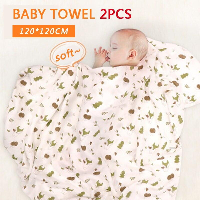 2 PCS panos toalha tamanho grande 120X120 de algodão de bambu Do Bebê fibra de Bambu bebê recém-nascido Dos Desenhos Animados Outono Quente