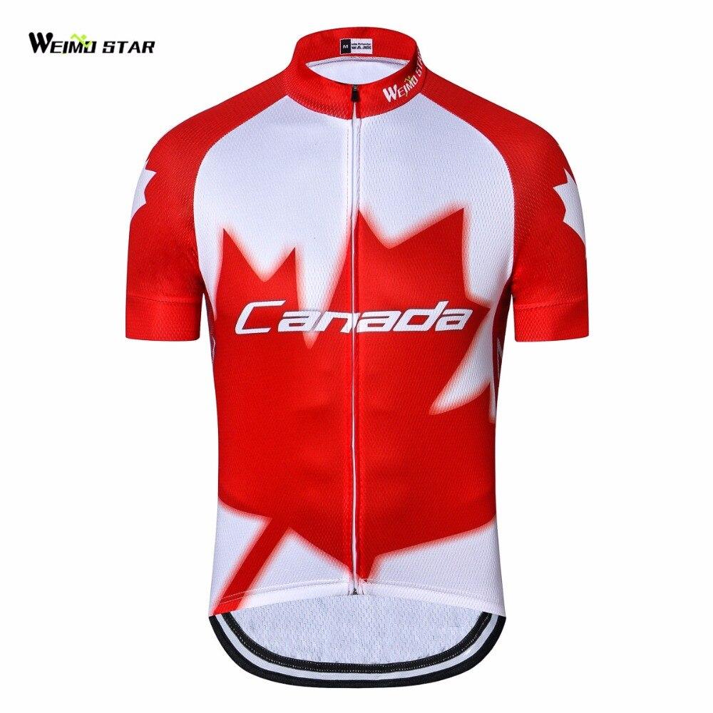 Jersey de ciclismo al aire libre de Canadá, Jersey de bicicleta para hombre 2018, jersey de Ciclismo de Carretera, ropa de bicicleta juvenil MTB, camisas de manga corta Rojas