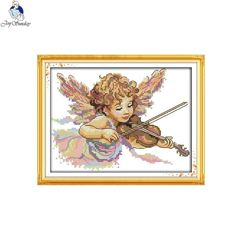 Ангел, который играет на скрипике, напечатанный на ткани DMC 14CT 11CT, наборы для вышивки крестиком, наборы для вышивки, домашний декор