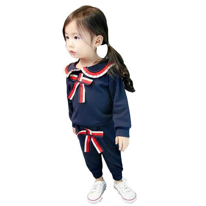 2020 New Girls Spring Autumn Clothes Suit Sailor Collar Bow Long Sleeve T-shirt Pants 2Pcs/Sets Toddler Tracksuit Kids Clothing