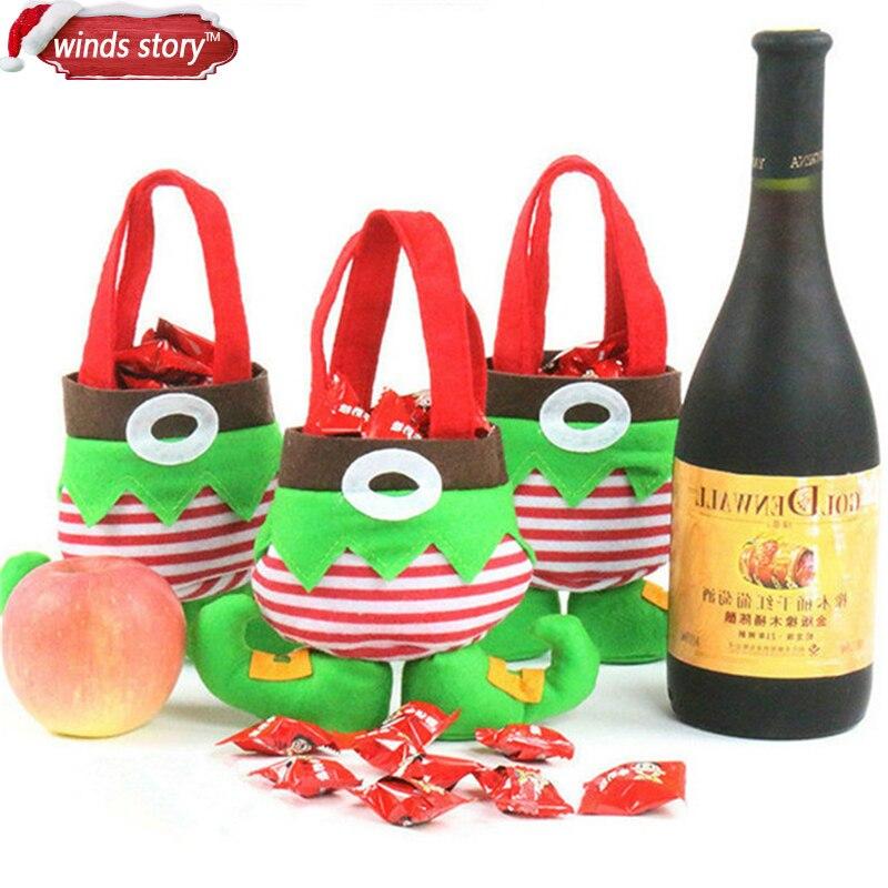 Regalo de Navidad bolsas de Navidad ornamento 3 unids/set duende de la...